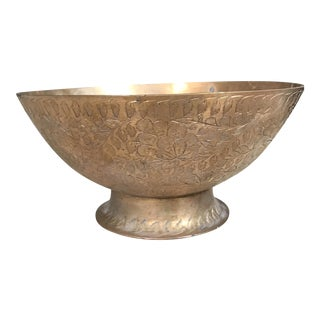 Vintage Indian Etched Brass Bowl