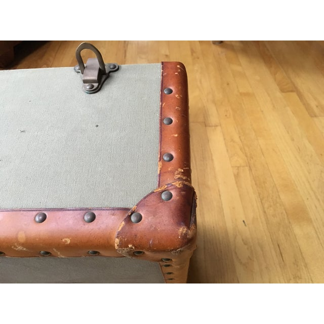 Animal Skin Vintage Ralph Lauren Canvas/Leather Suitcase For Sale - Image 7 of 13