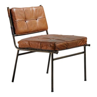 Rare Mathieu Matégot Chair with Brass Frame and Leather Seat and Back, 1950s For Sale
