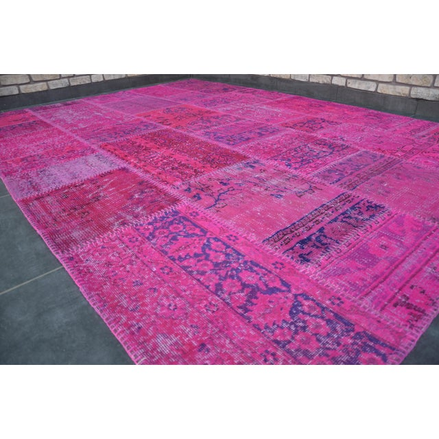 Pink Overdyed Turkish Anatolian Patchwork Carpet - 7′1″ × 10′ For Sale - Image 5 of 11