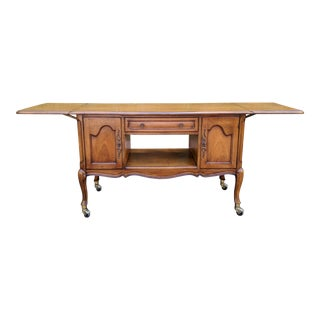20th Century French Provincial White Furniture Co Carved Walnut Buffet/Sideboard For Sale