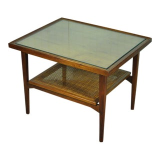 Vintage Mid Century Modern Drexel Declaration Kipp Stewart Walnut Table Danish