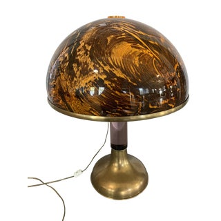 Vintage Tortoise, Brass and Lucite Table Lamp For Sale