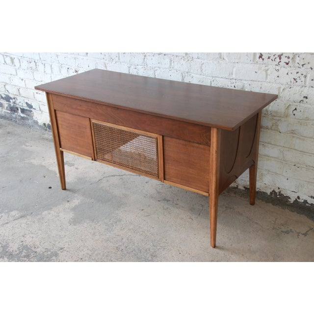 Broyhill Brasilia Mid-Century Modern Sculpted Walnut Desk For Sale In South Bend - Image 6 of 13