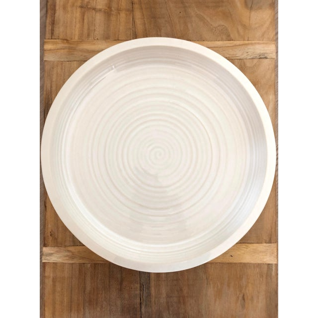 Ceramic glazed, cream colored large Pottery Barn Platter. Never used. Great neutral color. Perfect condition. Microwavable...
