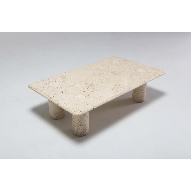 Angelo Mangiarotti Travertine Coffee Table for Up & Up - 1970s For Sale - Image 6 of 11