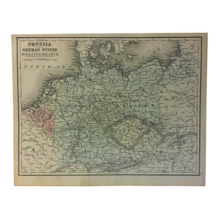"1880s Antique Mitchell's Modern Atlas ""Prussia - the German States - Holland & Belguim"" Map For Sale"