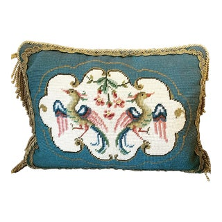 Vintage Bird Motif Needlepoint Pillow For Sale