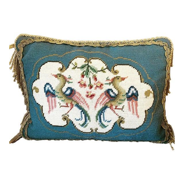 Vintage Bird Motif Needlepoint Pillow For Sale