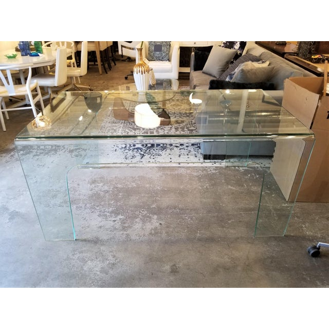 Early 21st Century Modern Solid Clear Glass Desk For Sale - Image 5 of 5