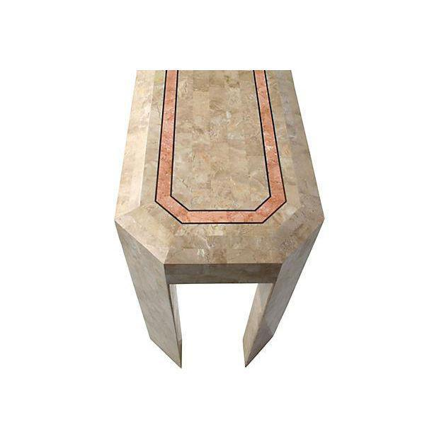 Tessellated Fossil Console Table with Brass Trim For Sale - Image 4 of 4