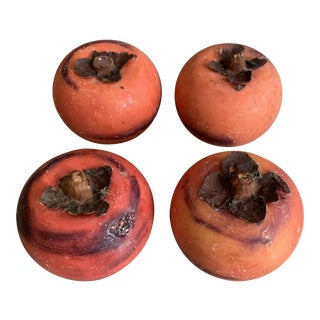 Vintage Italian Marble Stone Fruit - Persimmon - Set of 4 For Sale