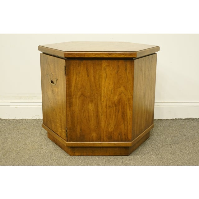 Wood 20th Century Campaign Drexel Heritage Accolade II Collection Hexagonal Storage Cabinet For Sale - Image 7 of 11