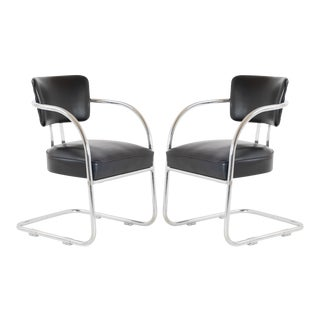 Art-Deco Accent Chairs in Black by Kem Weber for Lloyd, Pair For Sale