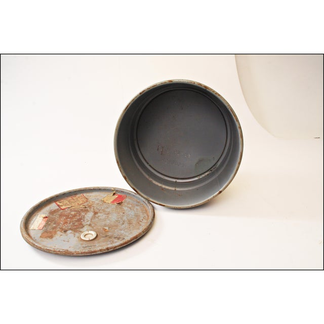 Vintage Industrial Gray Metal Barrel with Lid - Image 10 of 11