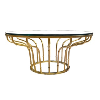 Mid-Century Gold Bamboo & Glass Coffee Table For Sale