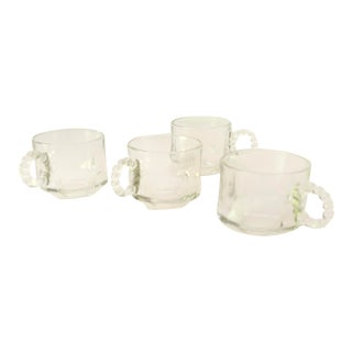 Midcentury Clear Candlewick Glass Set of 4 Tea Cup For Sale