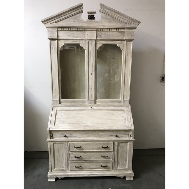 Wood American Classical Secretary Desk With Hutch For Sale - Image 7 of 7