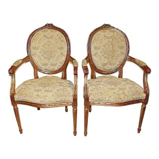 French Louis XVI-style Fauteiuls Armchairs For Sale