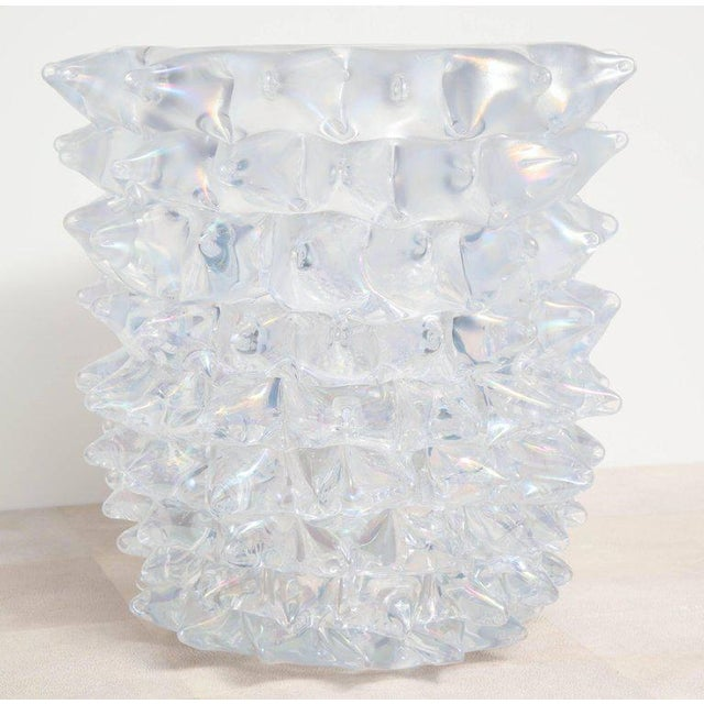 Enormous Murano iridescent clear glass spiked vase.