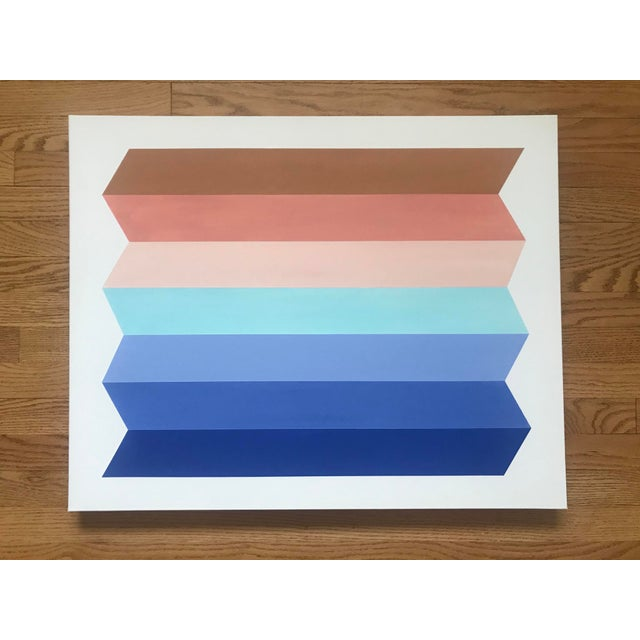 New painting, created in 2020. Inspired by the clean lines of Mid-Century Modern design. Classic blue hues through to...