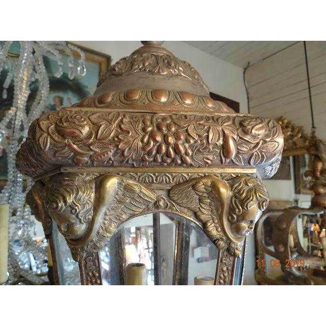 Metal Antique Vintage French Cherub Lantern For Sale - Image 7 of 9