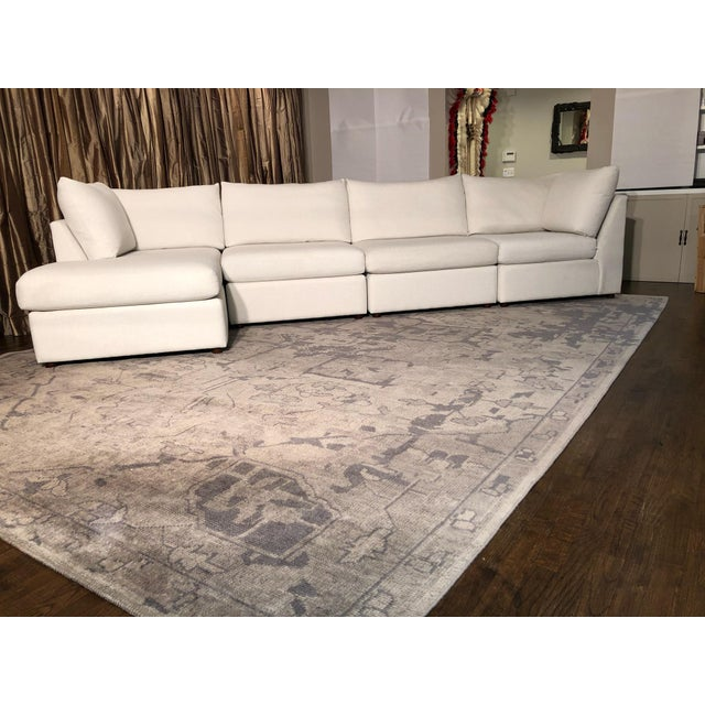 Bassett Beckham Sectional Sofa With Chaise and Storage Ottoman