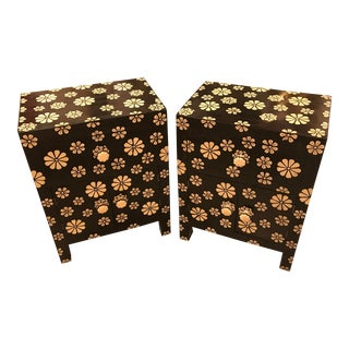 Flower Patterned, Inlaid Bone Nightstands/ Side Tables, a Pair - India For Sale