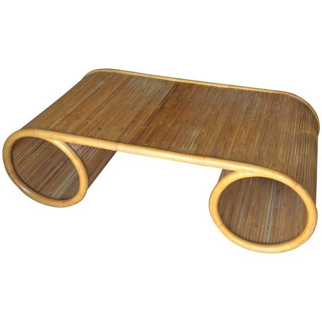 Pencil Reed Rattan Bamboo Vintage Scroll Coffee Cocktail Table - Image 6 of 7