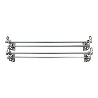Pottery Barn Brushed Nickel Double Curtain Rods and Brackets - a Pair For Sale