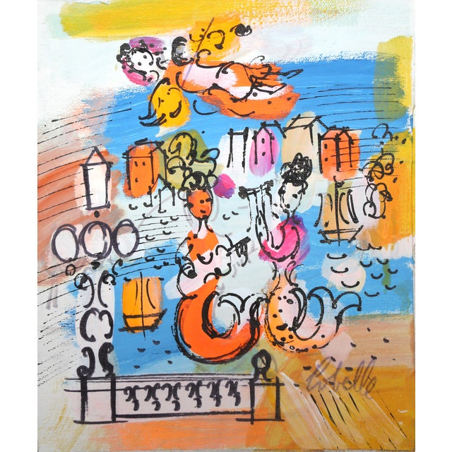 Charles Cobelle, Mermaids in Paris, Acrylic on Canvas, Signed Lower Right For Sale