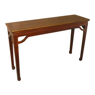 1900s Chinese Style Natural Elmwood Console Table For Sale