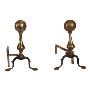 Traditional Reclaimed Brass Andirons - a Pair For Sale