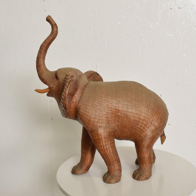Hollywood Regency Antique Elephant Wicker Box Hollywood Regency Period For Sale - Image 3 of 11