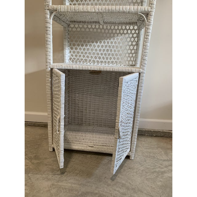 Wicker Vintage Tall Rustic White Wicker Rattan Cabinet Shelf With Bottom Dual Magnetic Stay Shut Doors For Sale - Image 7 of 8