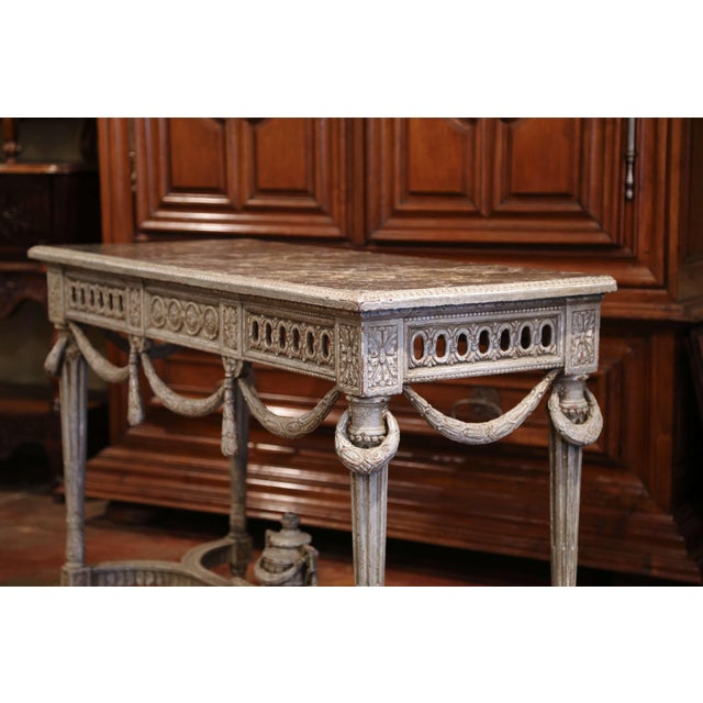 Marble Pair of 19th Century French Carved Painted Consoles Tables With Faux Marble Top For Sale - Image 7 of 12