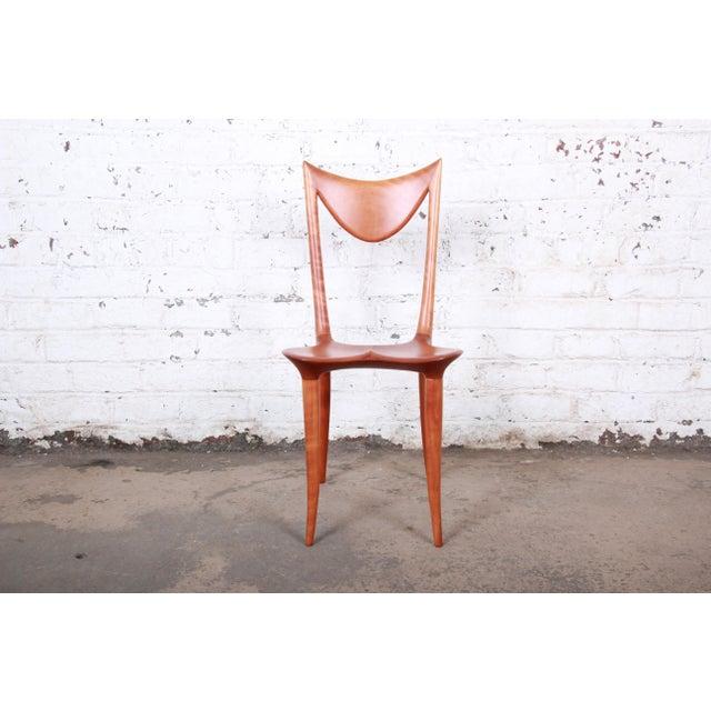"Cherry Wood Oskar Kogoj Studio Craftsman Sculptural ""Venetia"" Chairs - a Pair For Sale - Image 7 of 13"