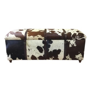 Cowhide Rectangular Bench With Storage Box for Living Room