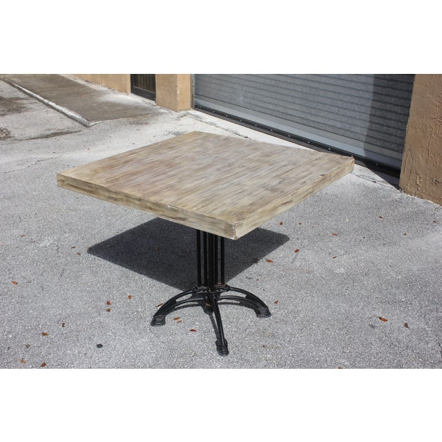 1920s French Country Cast Iron Base Walnut Top Dining / Bistro Table For Sale - Image 11 of 13