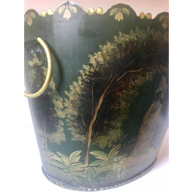 Metal Painted Tole Cachet-Pot For Sale - Image 7 of 11