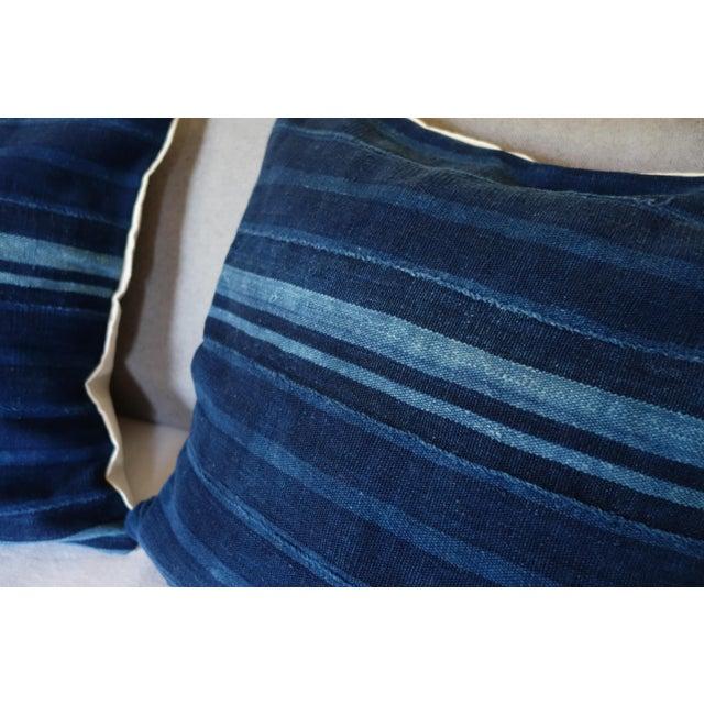 Vintage African Mudcloth Indigo Pillows - A Pair - Image 3 of 4