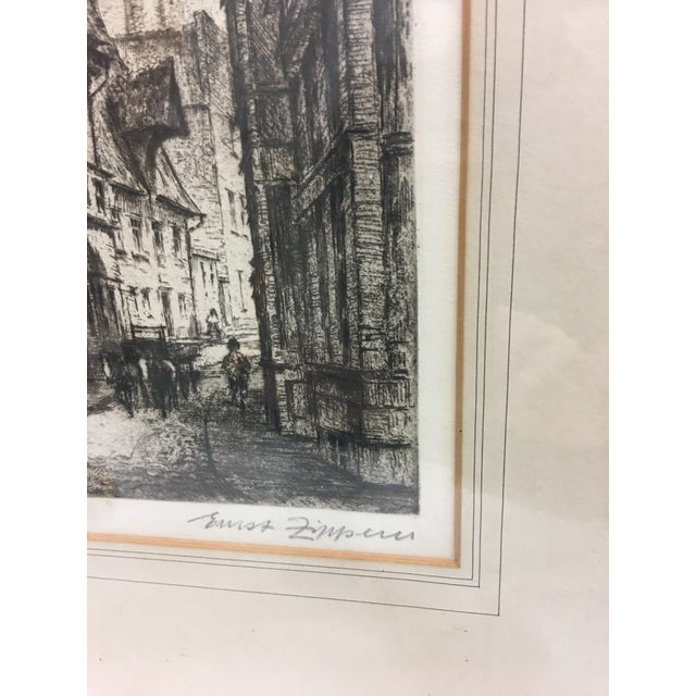 European City Street by Cathedral Etching For Sale - Image 5 of 8