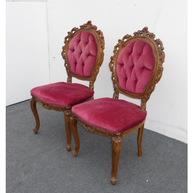 Ornate French Carved Tufted Back Chairs - Pair - Image 4 of 11