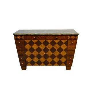 Maitland Smith Modern Mahogany & Walnut Inlaid Sideboard For Sale