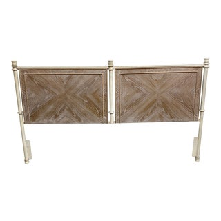 Lane Iron and Bleached Oak Headboard For Sale