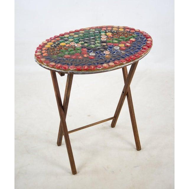 1970s Folk Art Bottle Cap X Frame Side Table For Sale - Image 9 of 9