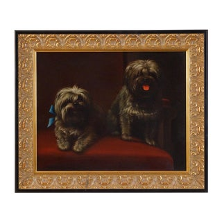 """Study of Two Dogs"" Oil on Canvas, Levi W. Prentice (1815 - 1935) For Sale"