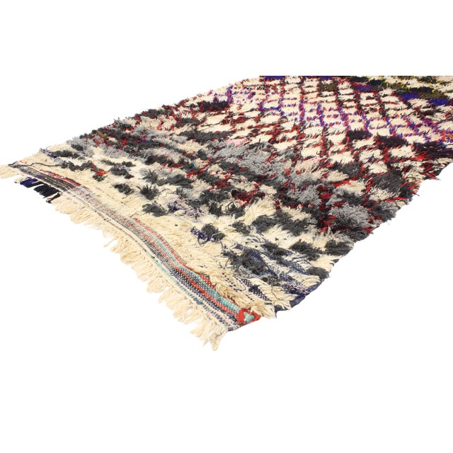 Boho Chic 1980s Vintage Berber Tribes of Morocco Boucherouite Rug - 4′10″ × 9′2″ For Sale - Image 3 of 4