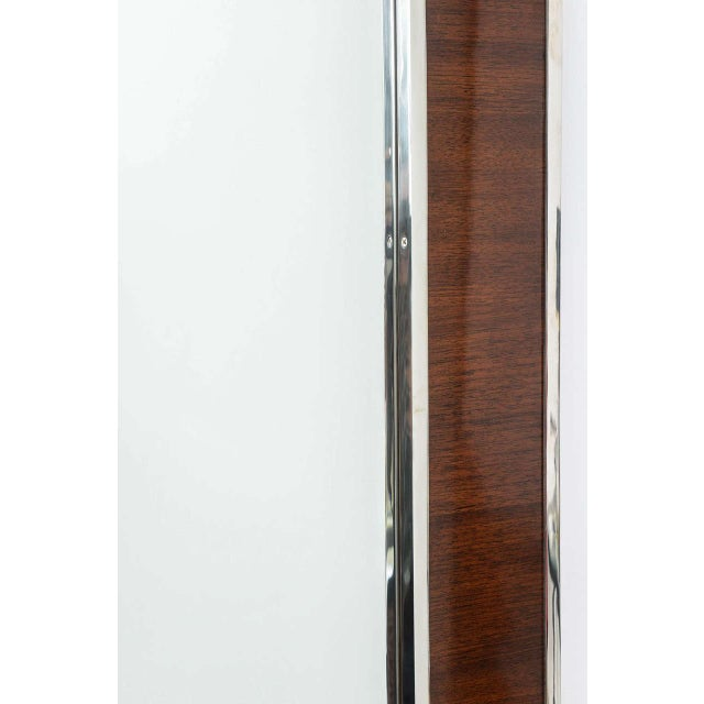 Karl Springer Style Mirror with Polished Chrome and Mahogany Frame, 1980s - Image 9 of 10
