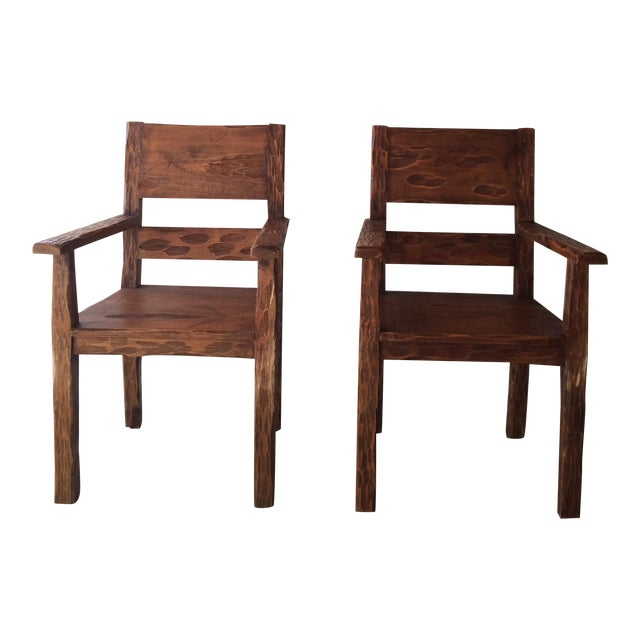 African Style Carved Wooden Chairs - A Pair - Image 1 of 11
